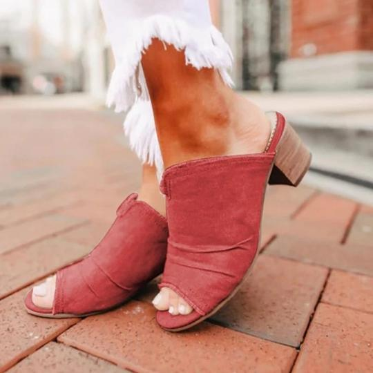 Denim Cloth Chunky Heel Sandals Mules Slippers