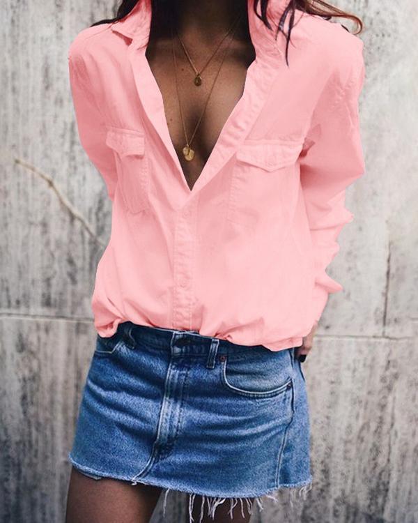 Plus Size Fashion Lapel Neck Casual Shirts Blouses Tops