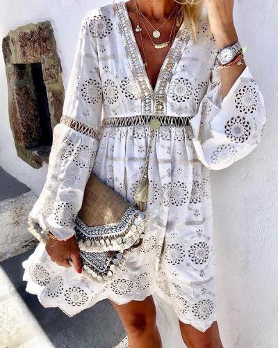 White Long Sleeve Cotton-Blend Mini Dresses