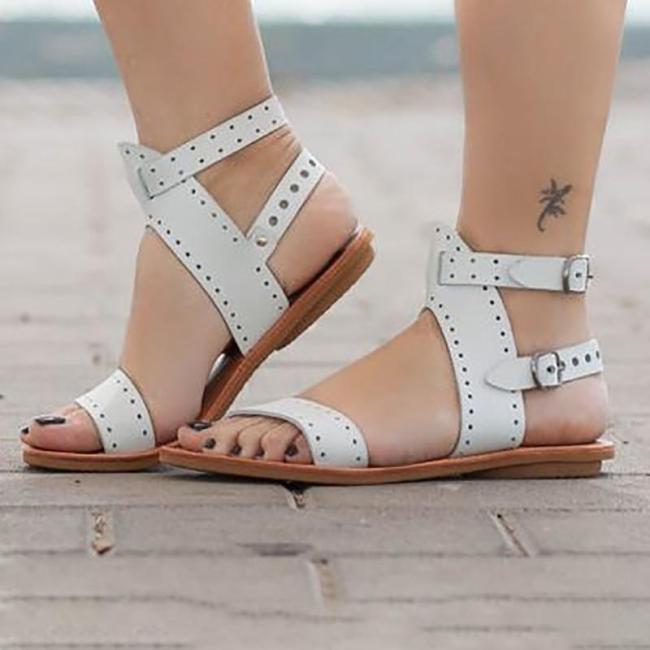 Adjustable Buckle Open Toe Casual Flat Sandals