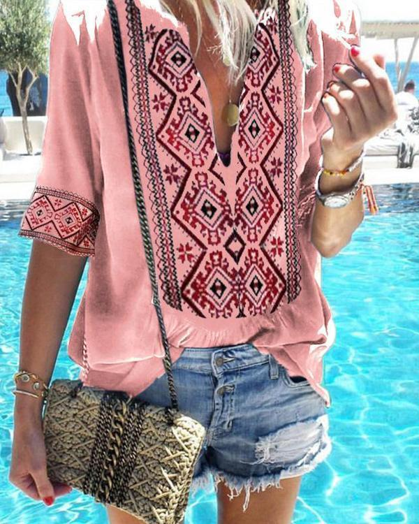 Sexy Deep V Neck Short Sleeve Solid Color Printed T-Shirts Tops