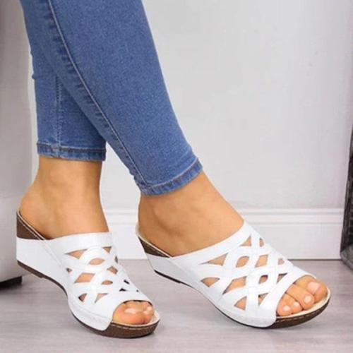 Women Casual Peep Toe Wedge Sandals