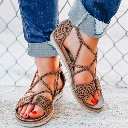 Leopard Printed Criss-Cross Zipper Flat Sandals