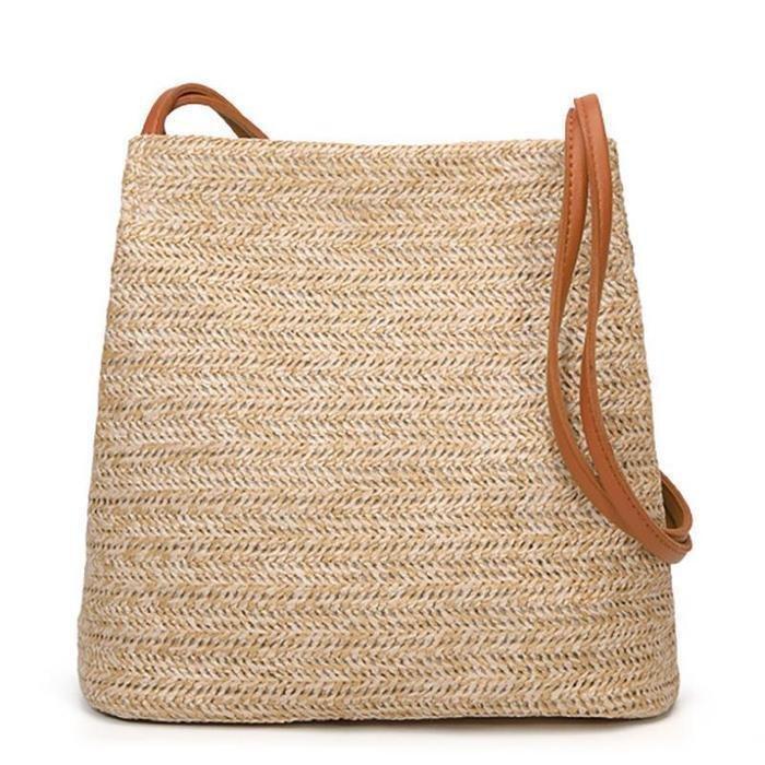 Womens Woven Straw Casual Beach Style Shoulder Bags