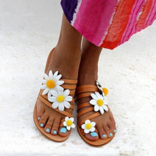 Womens Fashion Flower Flat Sandals
