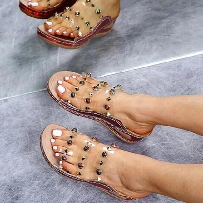 Women Large Size Rivet Transparent Wedge Slippers