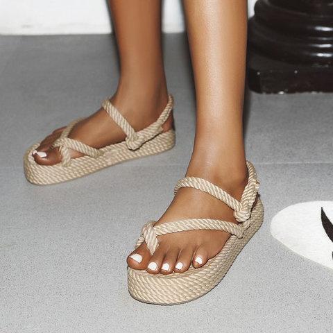 Women Slide Thong Sandals Open Toe Flat Heel Casual Shoes