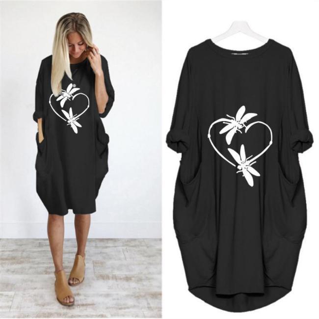 Casual Animal Round Neckline Knee-Length Shift Dress