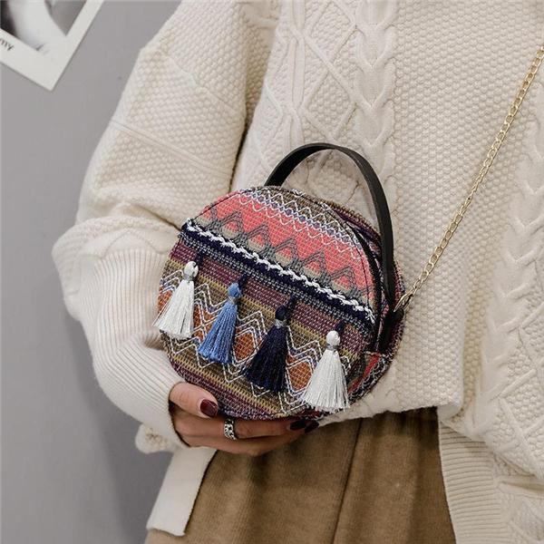 Bohemian Tassel Round Bag