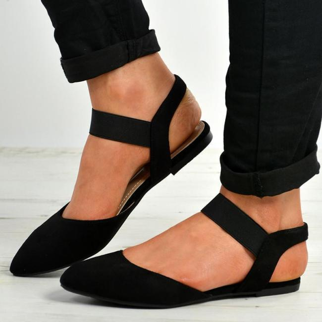 Casual Elastic Band Pointed Toe Flat Sandals Dancing Shoes