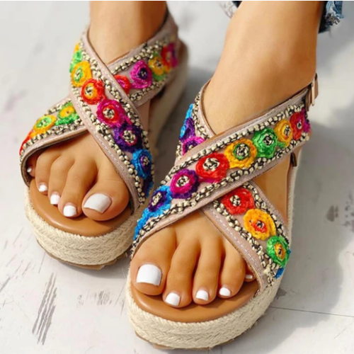 2020 New And Fashional Women Roman Colorblock Crisscross Platform Sandals