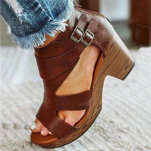 Zipper Chunky Heel Sandals Adjustable Buckle Vintage Heels