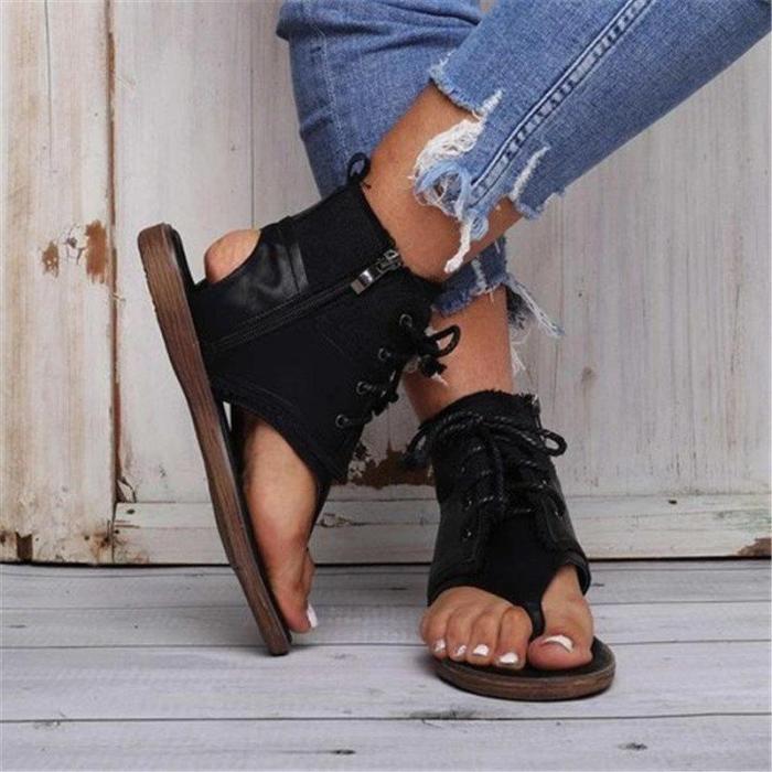Thong Zipper Casual Cross Strap Sandals