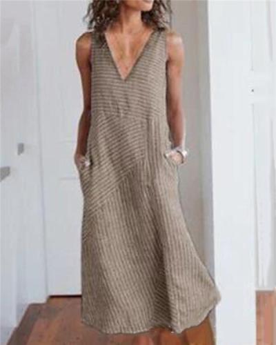 Women V Neck Dresses Shift Daily Striped Dresses