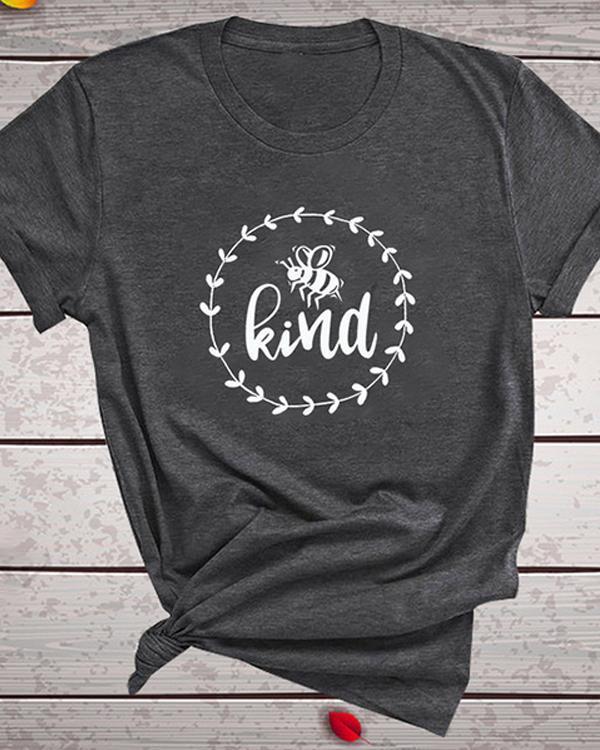 Bee Kind Women's T Shirt Summer Letter Print Short Sleeve Loose Tops Blouse
