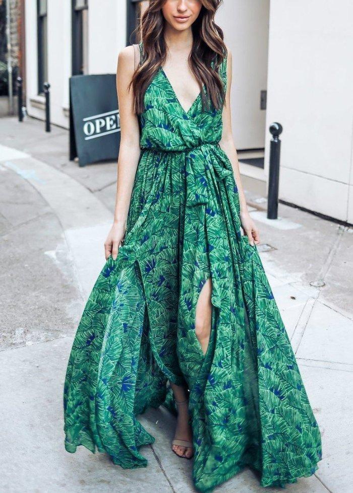 Green Bohemia Sleeveless Printed Maxi Dress