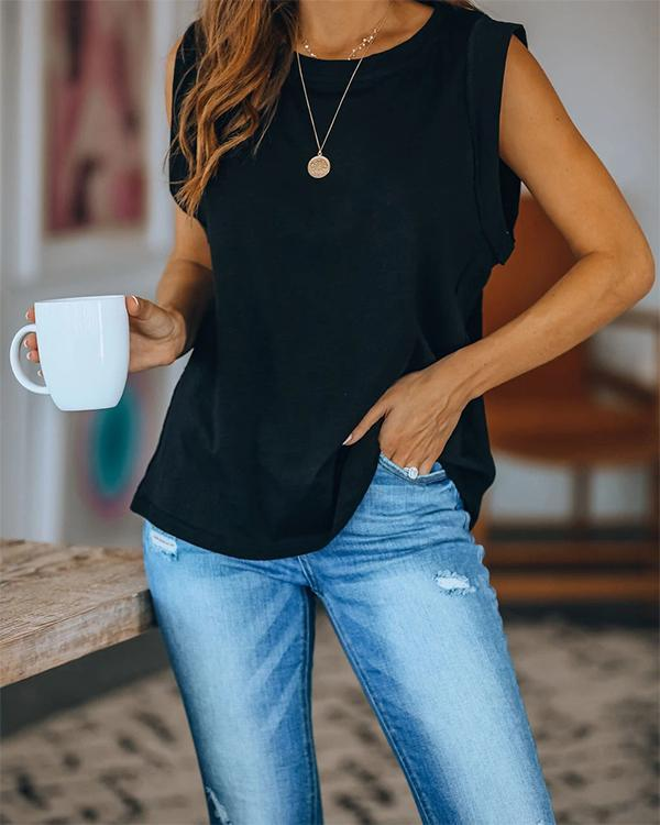 Solid Sleeveless Casual Top