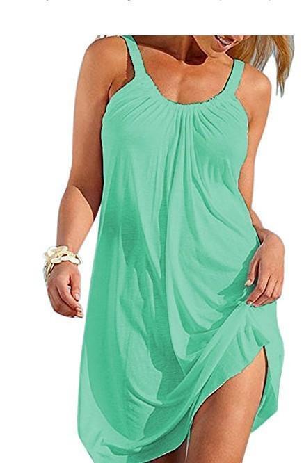 Spaghetti Plain Round Neck Sleeveless Mini Dress