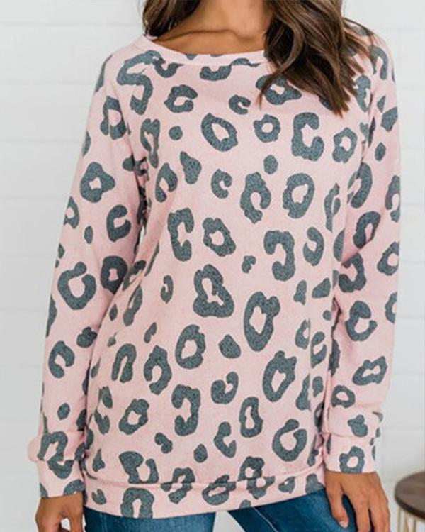 Long Sleeve Paneled Boho Leopard Print Shirts & Tops
