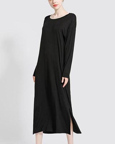Women Solid Sleepwear Long Sleeve Pajamas Midi Dress