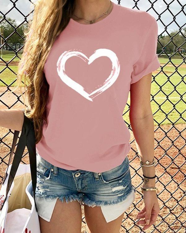 Short Sleeve Love Heart Printed Vintage Casual Tops Shirts