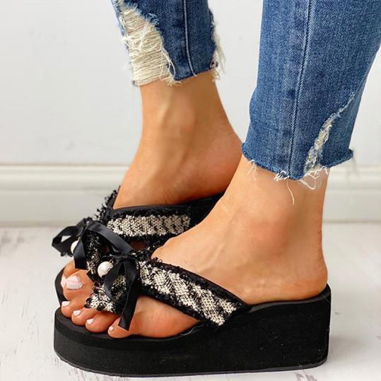 Stylish lightweight bow flip-flops Sandals