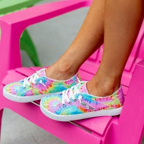 Color Daily Summer Cloth Lace-Up Sneakers