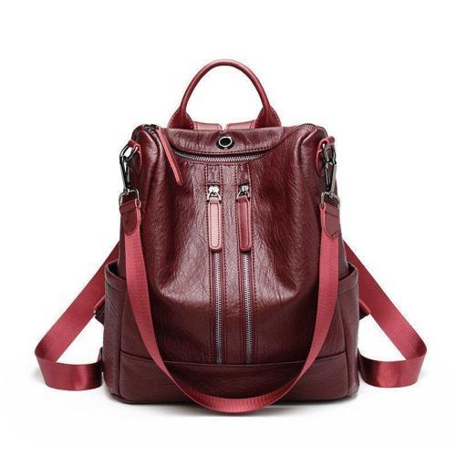 Women Solid Travel Leisure Soft Leather Multi-function Backpack Large Capacity Shoulder Bag