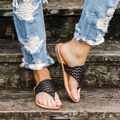 Women Summer Flat Heel Hollow Sandals