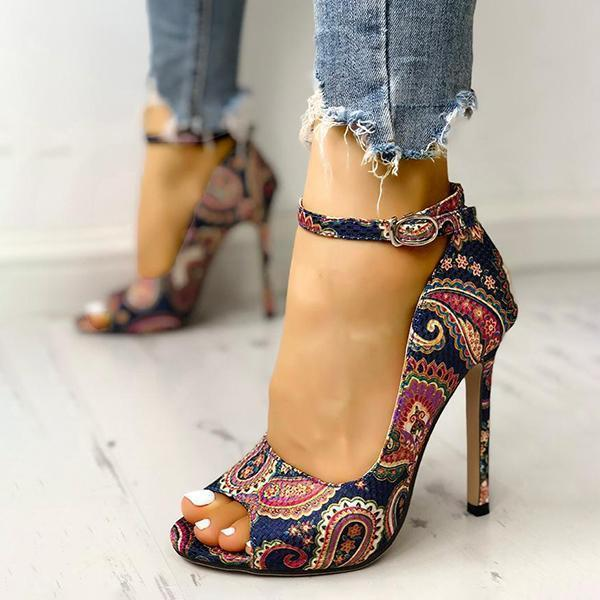 Ethnic Print Peep Toe Ankle Strap Thin Heeled Sandals