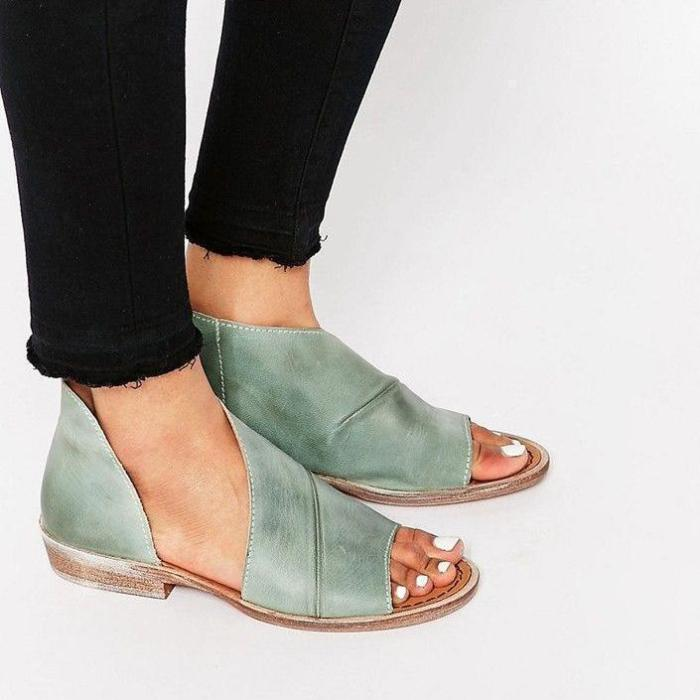 Sexy Side Open Casual Solid Open Toe Leather Sandals