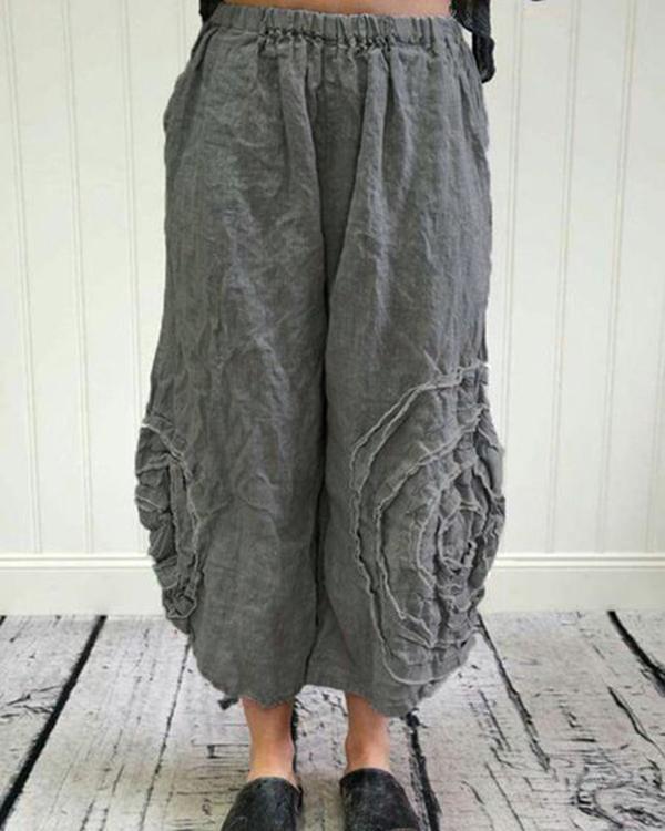 Fashion Solid High Waist Casual Wide Leg Pants