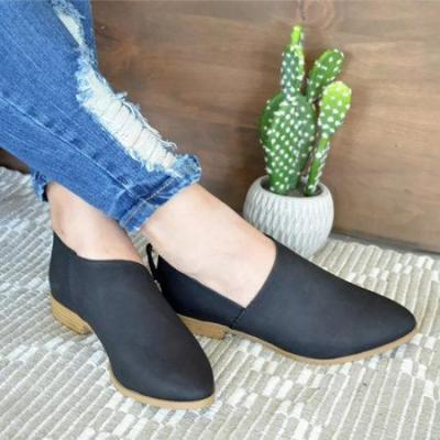 Women PU Ankle Boots Simple Comfort Classic Slip On Shoes