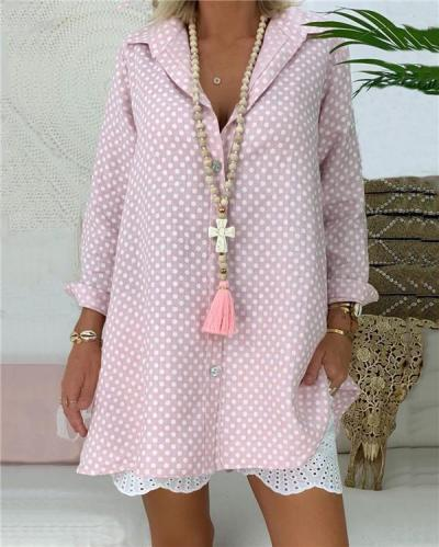 Plus Size Polka Dots Women Casual Shirts Daily Tops