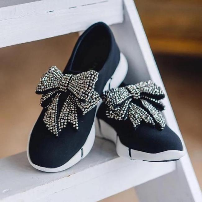 Athletic Rhinestone Bowknot Sneakers Women Slip-on Running Shoes
