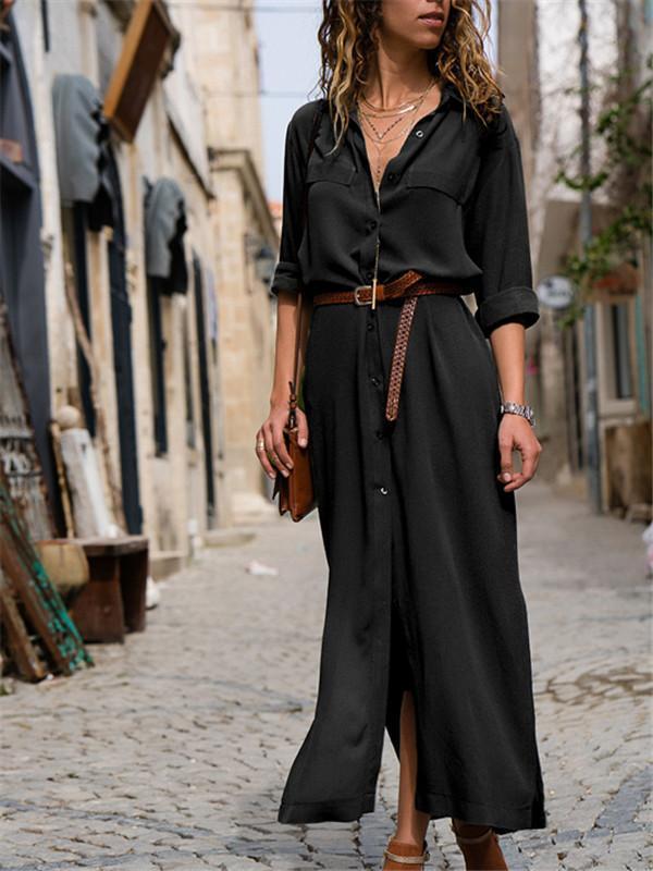Fashion Shawl Collar Shift Women 3/4 Sleeve Paneled Spring Dress