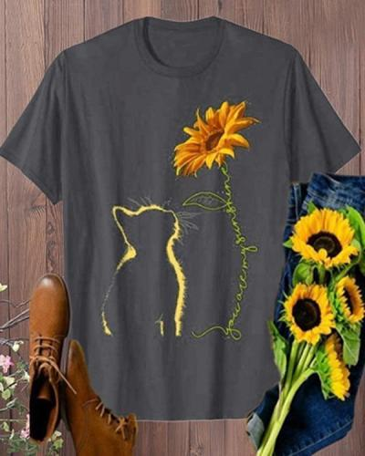 Vintage Cat And Sunflower Printed Plus Size Short Sleeve Casual Tops Shirts