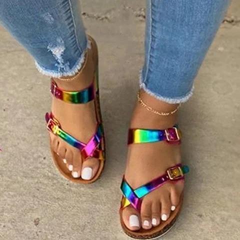 Multicolor Flat Heel Pu Summer Buckle Sandals