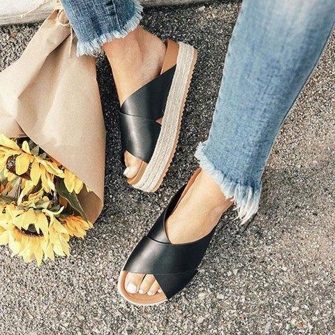 Women Plus Size Peep Toe Platform Sandals Slip-On Slippers