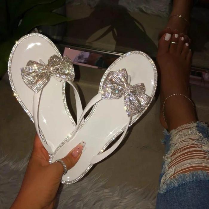 Casual Crystal Ribbon Flat Sandals