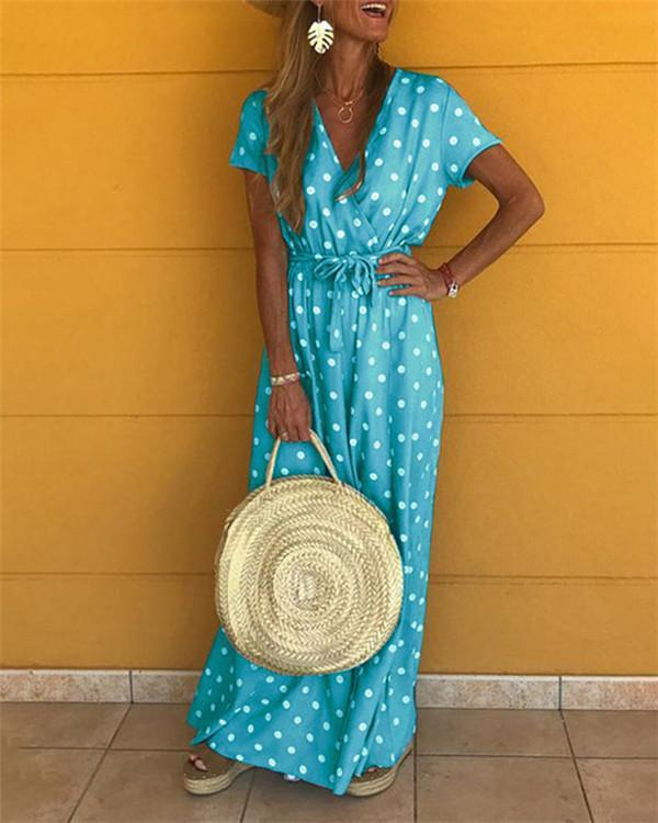 Polka Dots Bohemian Holiday Dresses Shift Daytime Maxi Dresses