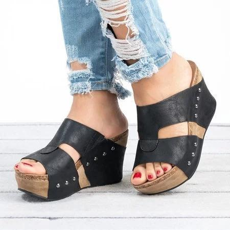 Women Shoes Platform Slippers Wedge Beach Flip Flops High Heel Slippers
