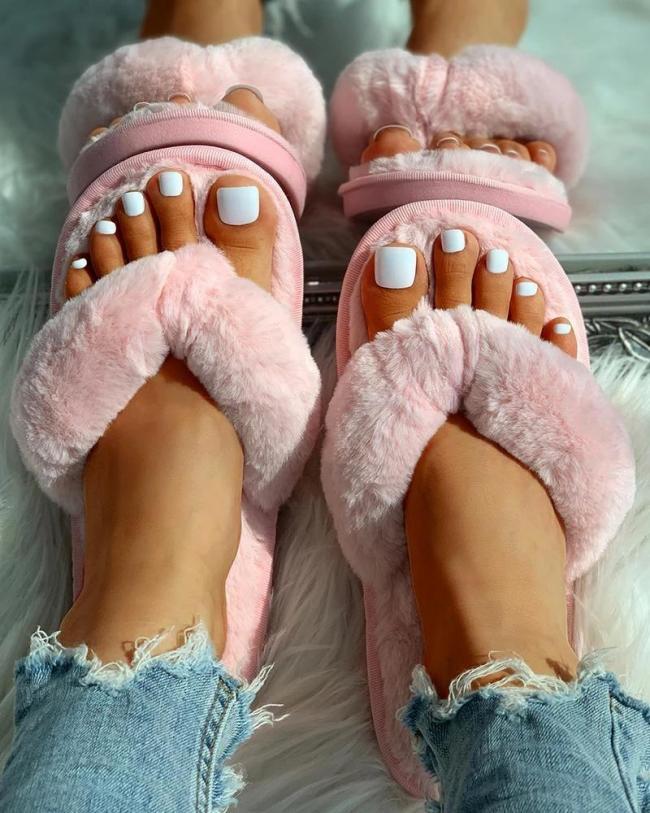 Toe Post Fluffy Flat Slipper