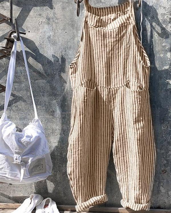Strap Striped Jumpsuit Wide Leg Pants