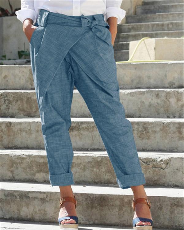 Fashion Solid Lace Casual Plus Size Pants
