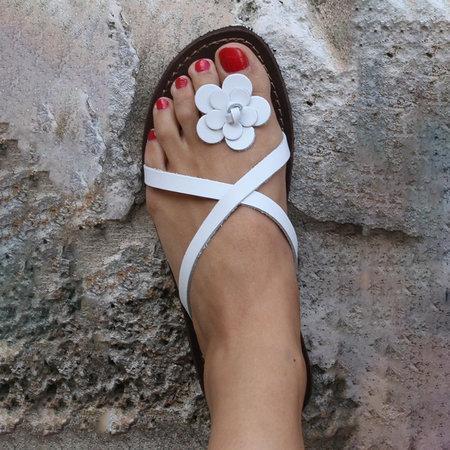 Women PU Slippers Casual Flower Flip Flops Shoes