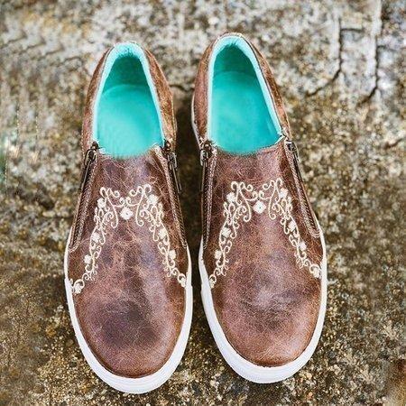 Women Ladies Vintage Brown Crater Sneaker