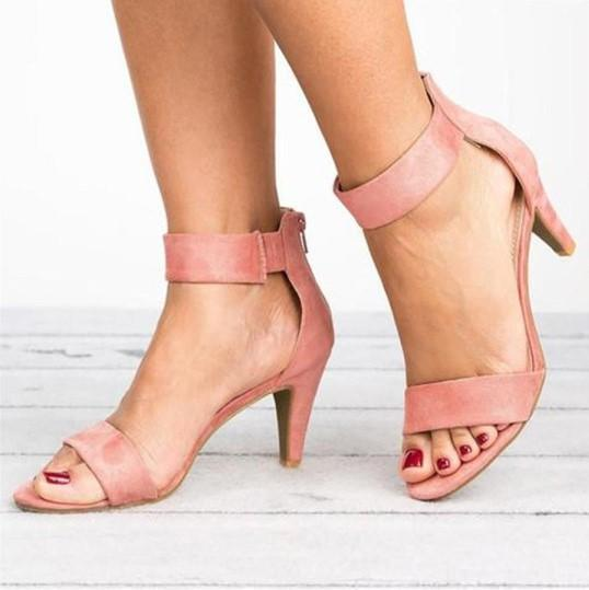 High Heel Zipper Flocking Sandals