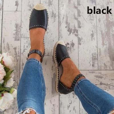 Women Summer Style Sandals PU Flat Espadrilles Sandals