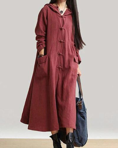 Swing Women Daily Long Sleeve Vintage Solid Casual Dress